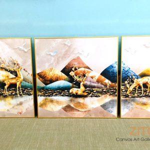 YW3-101 Tranh canvas hươu bên suối