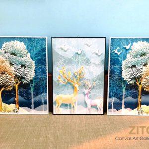 Bộ 3 tranh đứng con hưu và rừng cây