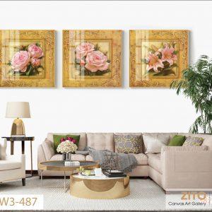 Tranh bộ 3 vuông sắc hồng của những đóa hoa