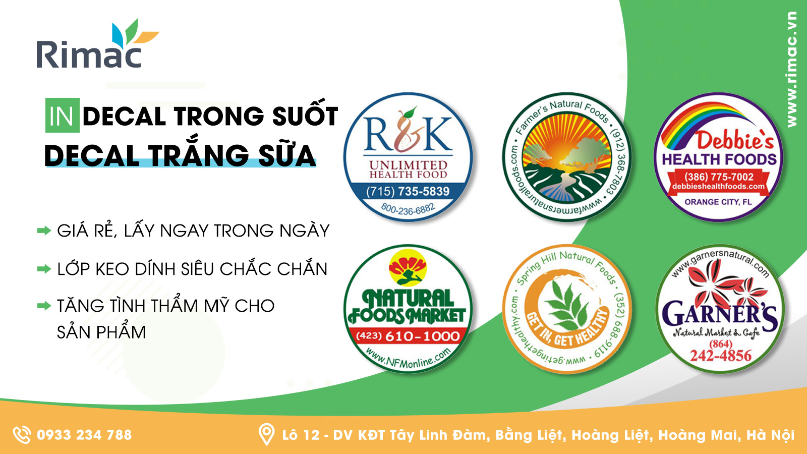 in decal trong, in decal. dịch vụ in decal