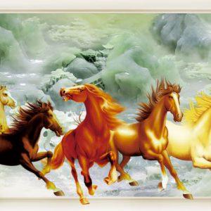Tranh dán tường 3D ngựa chiến