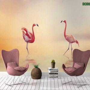 Tranh dán tường đôi hồng hạc hạnh phúc