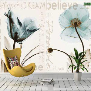 Tranh dan tường cánh hoa mỏng manh