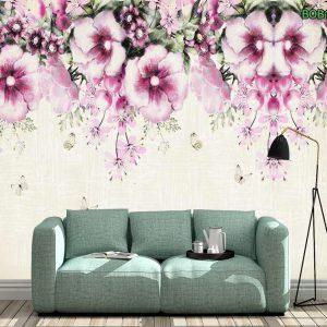 Tranh dán tường dàn hoa tím