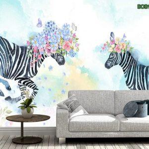 Tranh dán tường đôi ngựa vằn xinh đẹp