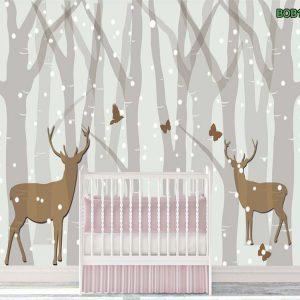 Tranh dán tường đôi hươu dưới mưa tuyết