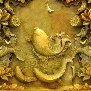 Tranh dán tường 3D cá chép vàng