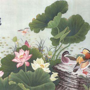 Tranh dán tường bên đầm thủy liên hoa
