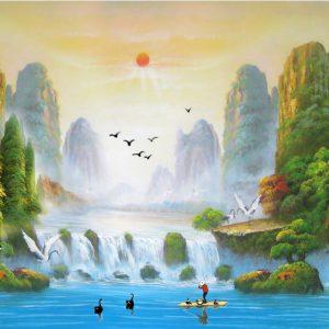Tranh bình minh chiếu rọi non nước