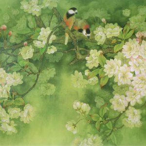 Mẫu tranh hoa cỏ mùa xuân