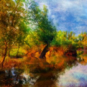 Mẫu tranh rừng cây ven sông