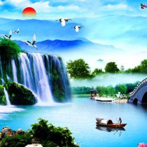 Mẫu tranh thác nước hùng vĩ