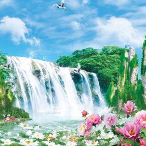 tranh dán tường thác nước