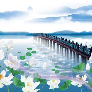 Tranh phong cảnh cây cầu và hoa sen