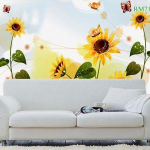 Tranh dán tường hoa hướng dương và bươm bướm