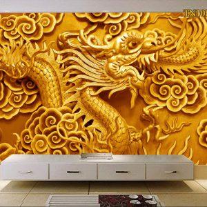 Tranh dán tường 3D rồng vàng cuộn mây