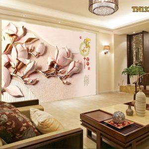 Tranh dán tường 3D bạch hoa