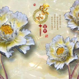 Tranh dán tường 3D lộc hoa