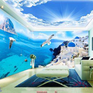 Tranh dán tường biển xanh nắng vàng
